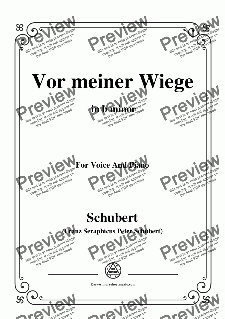 page one of Schubert-Vor meiner Wiege,in b minor,Op.106,No.3,for Voice and Piano
