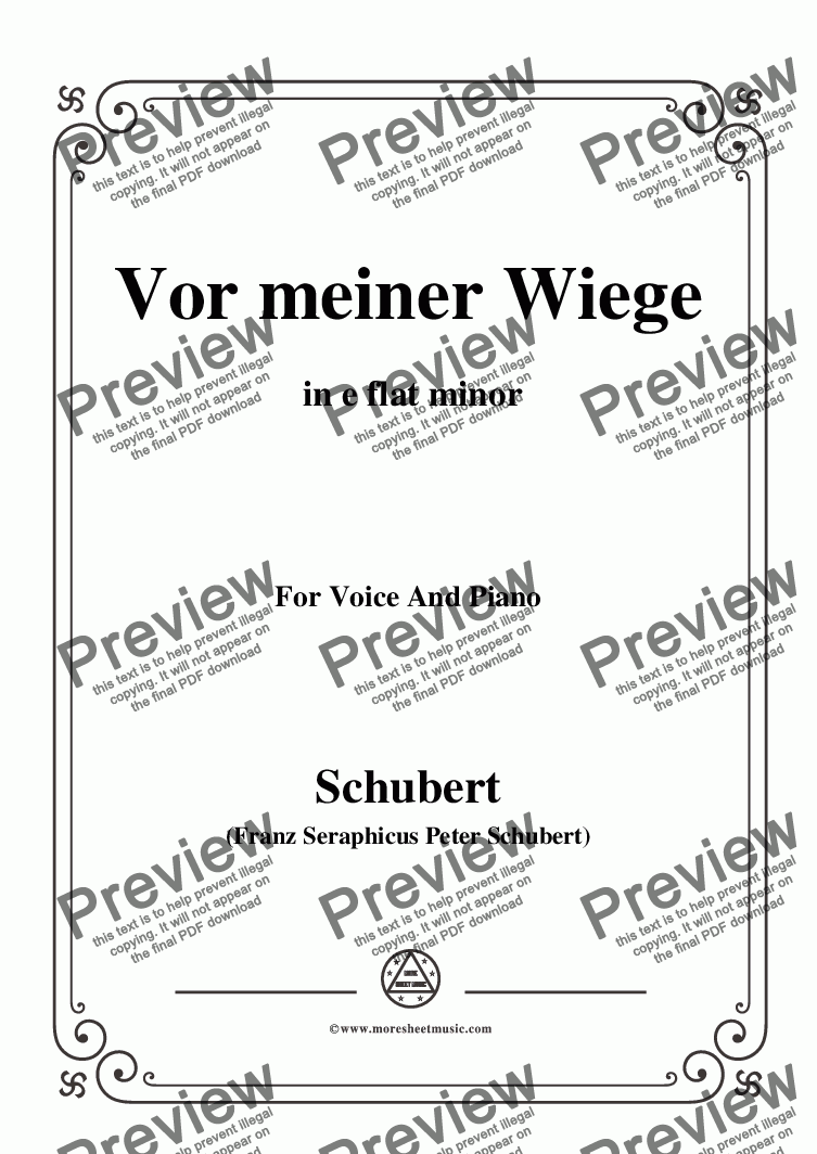 page one of Schubert-Vor meiner Wiege,in e flat minor,Op.106,No.3,for Voice and Piano