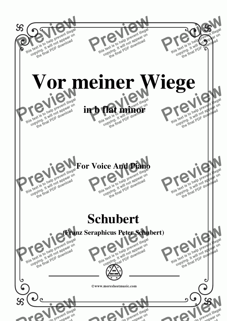 page one of Schubert-Vor meiner Wiege,in b flat minor,Op.106,No.3,for Voice and Piano