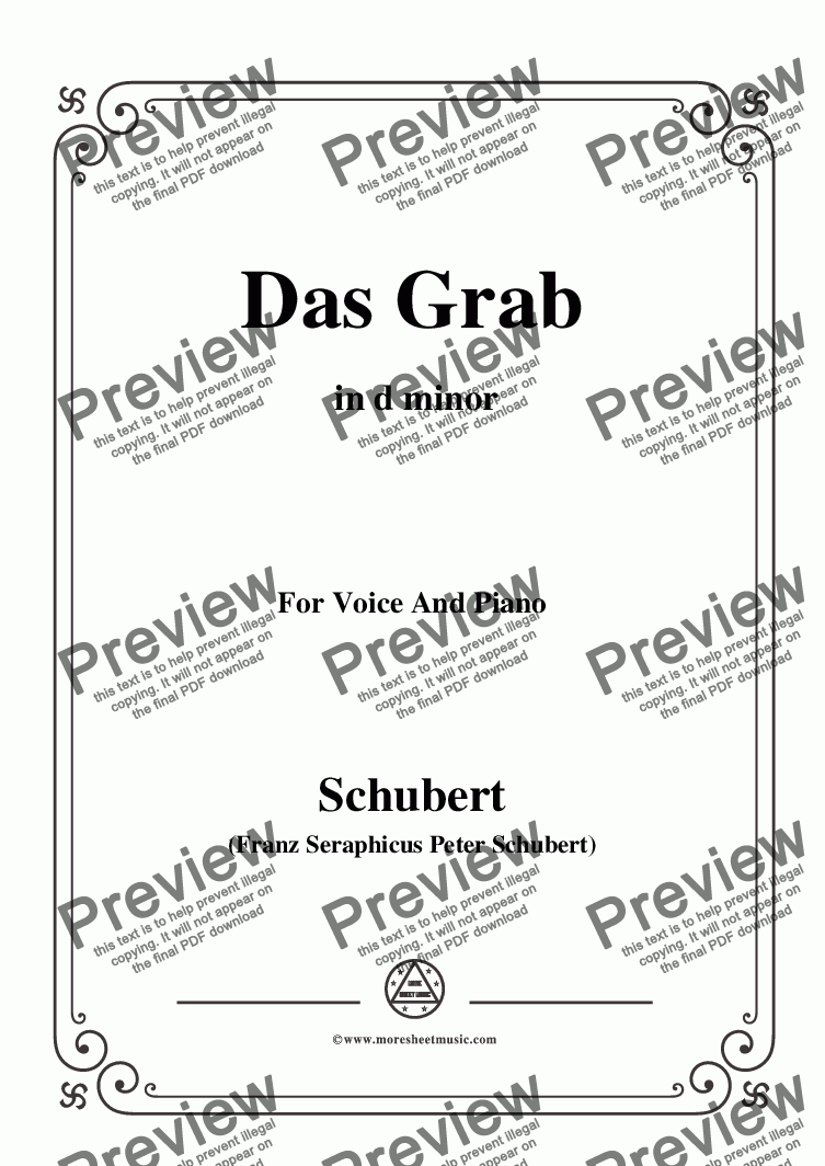 page one of Schubert-Das Grab,in d minor,for Voice and Piano
