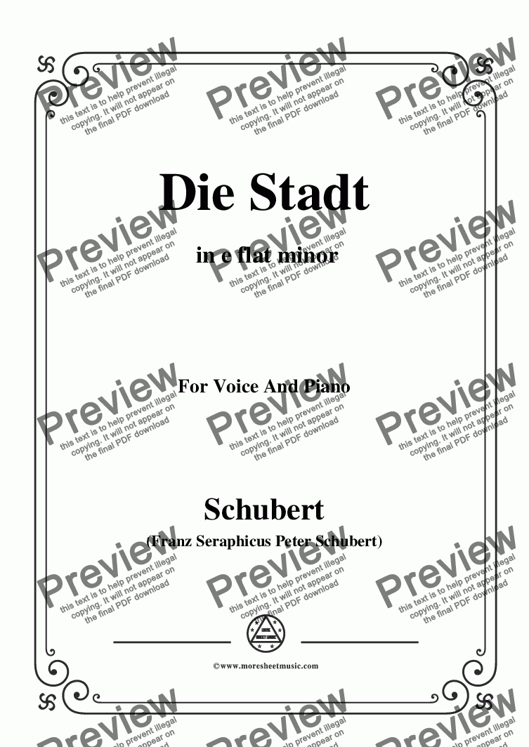 page one of Schubert-Die Stadt,in e flat minor,for Voice and Piano