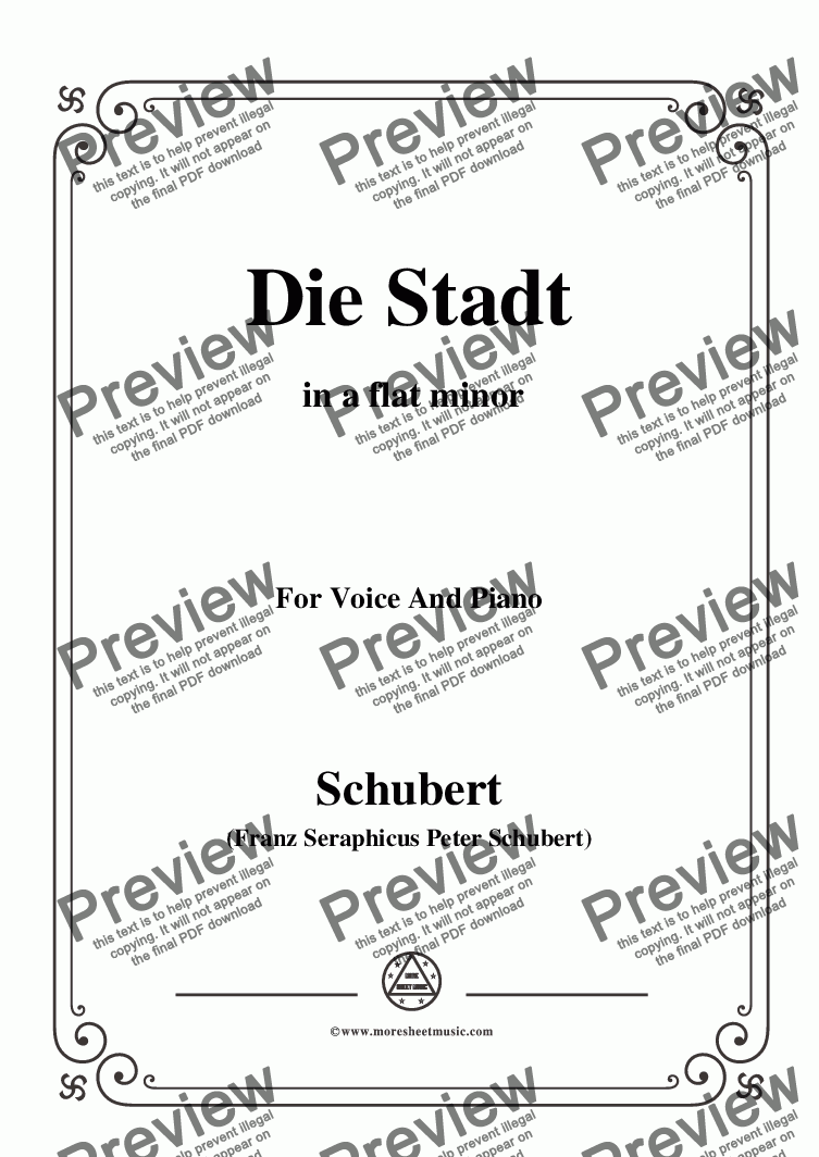 page one of Schubert-Die Stadt,in a flat minor,for Voice and Piano