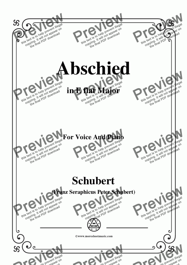 page one of Schubert-Abschied,in E flat Major,for Voice and Piano