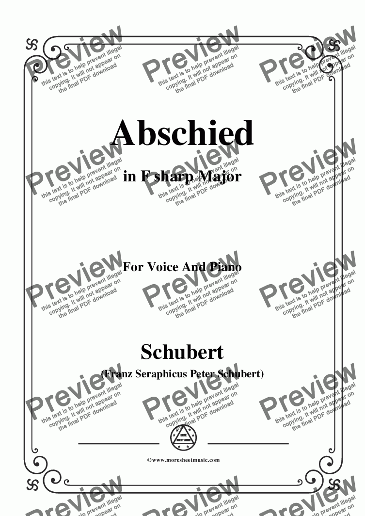 page one of Schubert-Abschied,in F sharp Major,for Voice and Piano