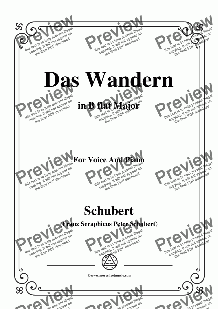 page one of Schubert-Das Wandern,in B flat Major,Op.25,No.1,for Voice and Piano