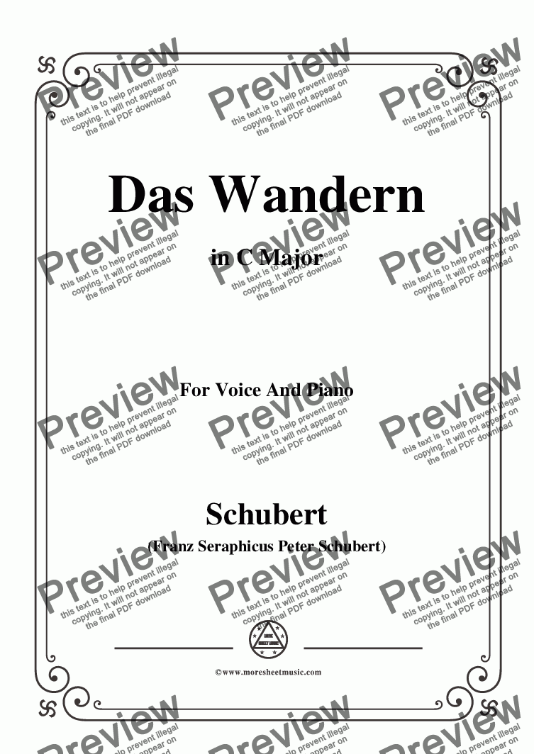 page one of Schubert-Das Wandern,in C Major,Op.25,No.1,for Voice and Piano