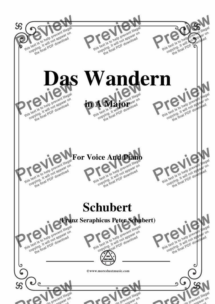 page one of Schubert-Das Wandern,in A Major,Op.25,No.1,for Voice and Piano