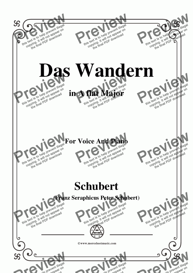 page one of Schubert-Das Wandern,in A flat Major,Op.25,No.1,for Voice and Piano