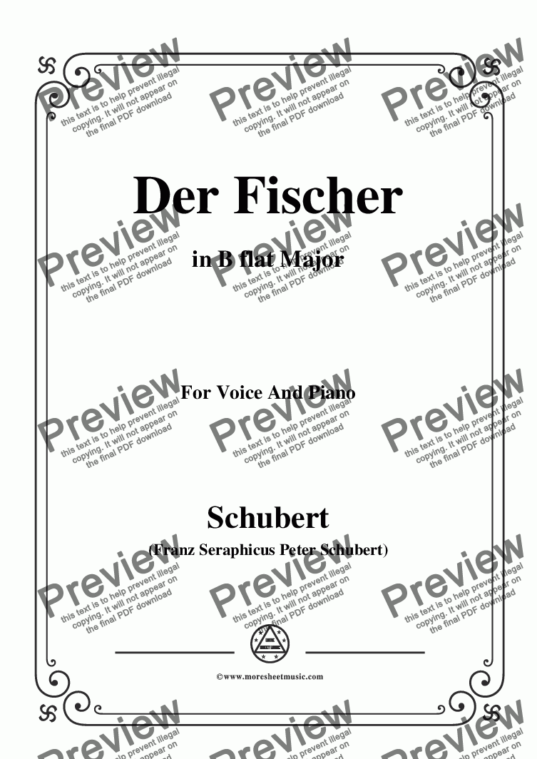 page one of Schubert-Der Fischer,in B flat Major,Op.5,No.3,for Voice and Piano