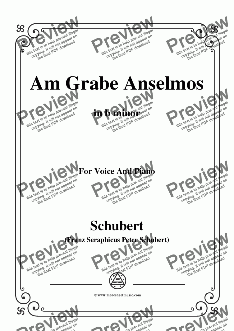 page one of Schubert-Am Grabe Anselmos,in b minor,Op.6,No.3,for Voice and Piano