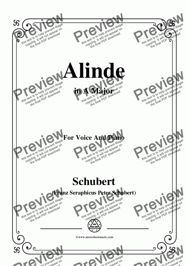 page one of Schubert-Alinde,in A Major,Op.81,No.1,for Voice and Piano