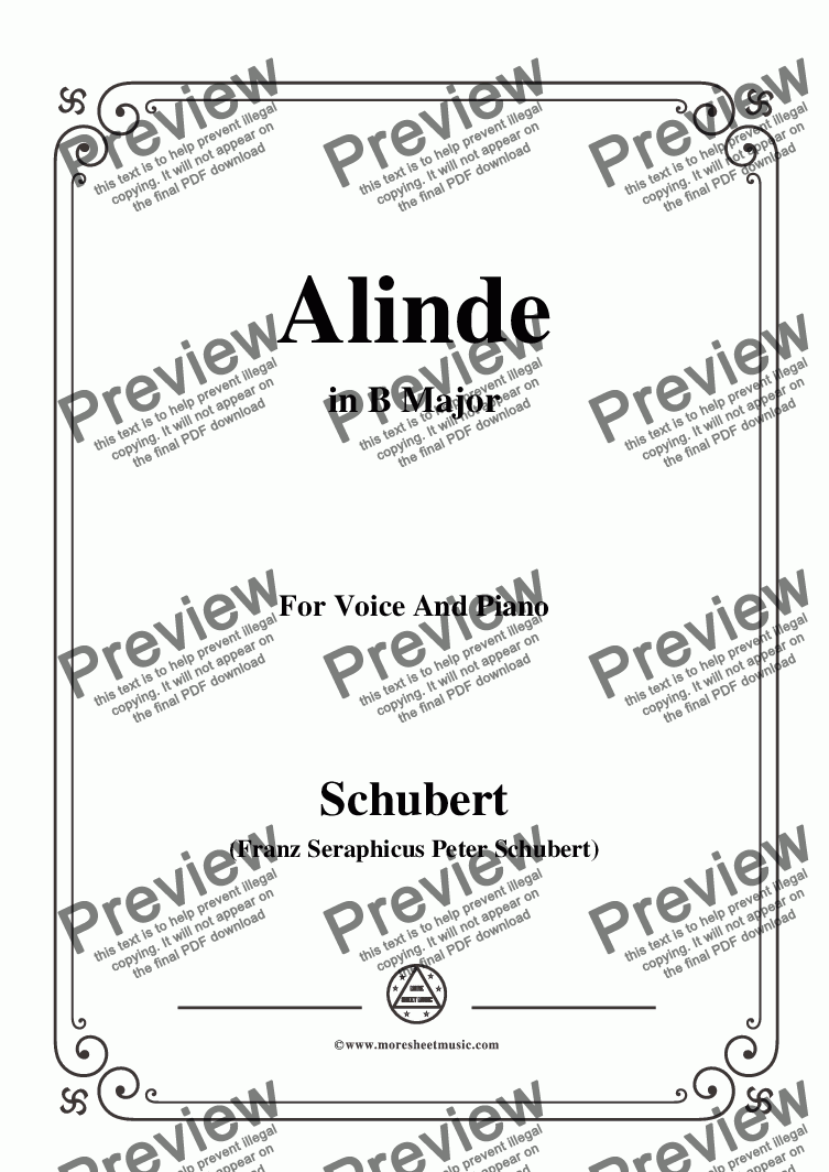 page one of Schubert-Alinde,in B Major,Op.81,No.1,for Voice and Piano