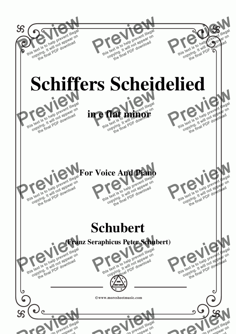 page one of Schubert-Schiffers Scheidelied,in e flat minor,for Voice and Piano