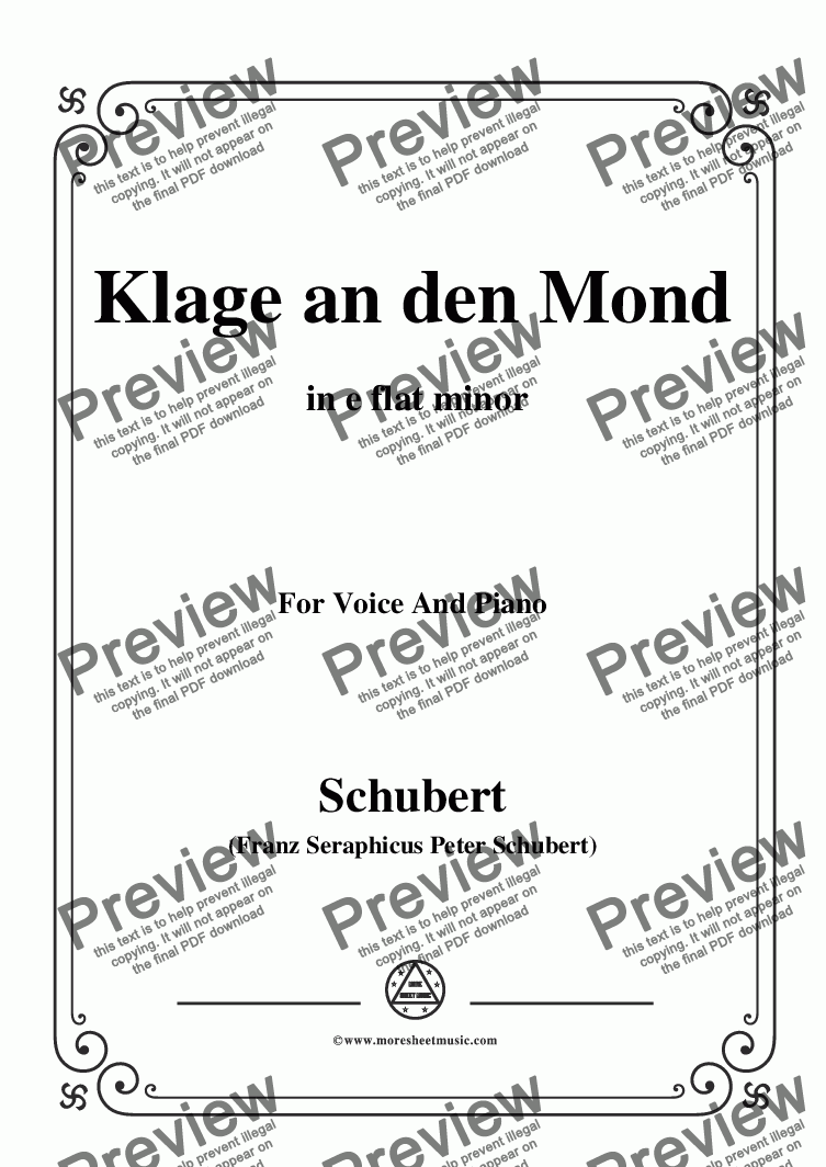 page one of Schubert-Klage an den Mond,in e flat minor,for Voice and Piano