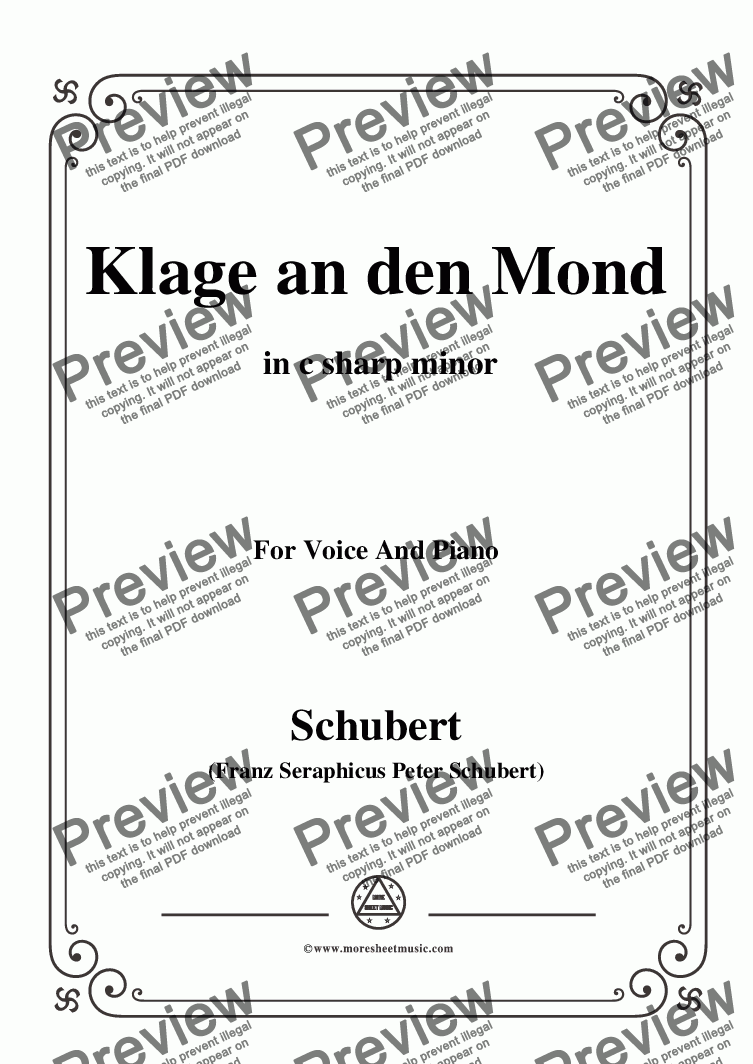 page one of Schubert-Klage an den Mond,in c sharp minor,for Voice and Piano