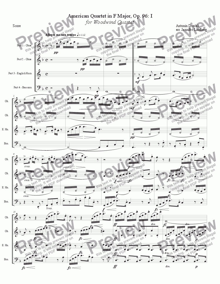page one of American Quartet No. 12 for Double Reed Quartet