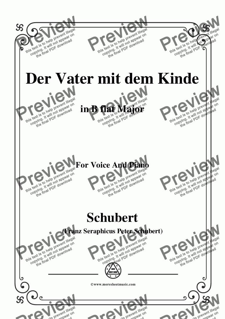 page one of Schubert-Der Vater mit dem Kinde,in B flat Major,for Voice and Piano