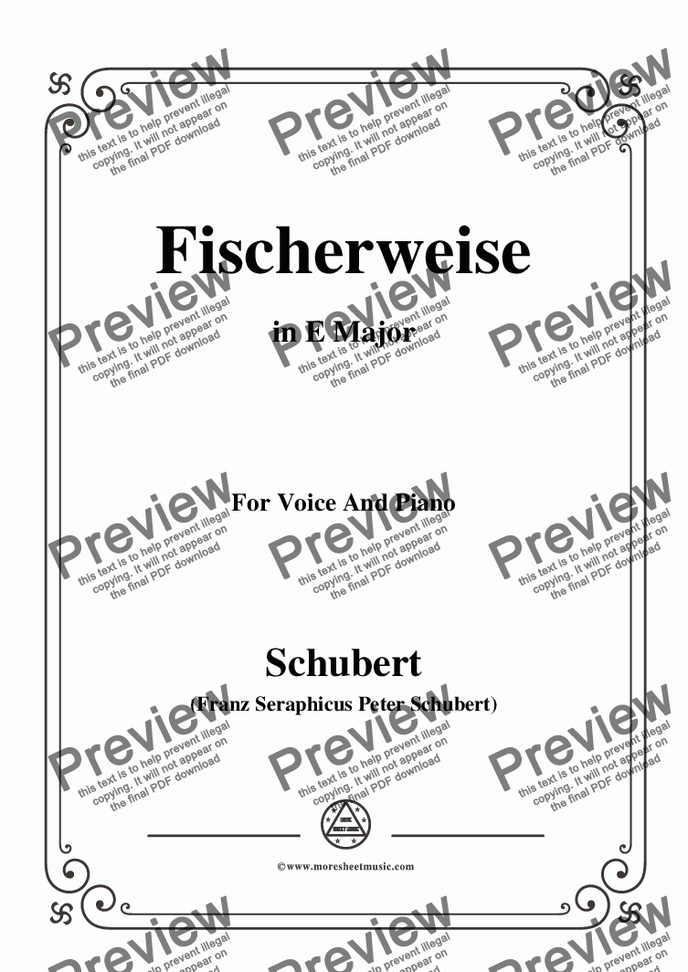 page one of Schubert-Fischerweise,in E Major,Op.96,No.4,for Voice and Piano