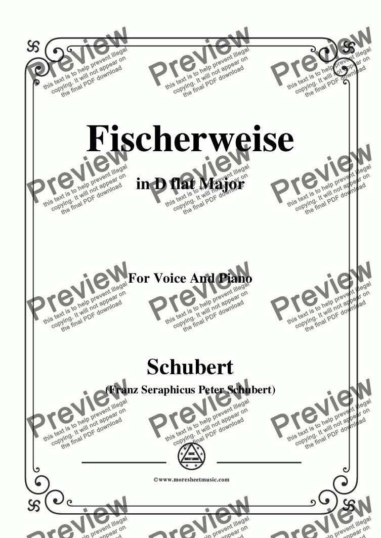 page one of Schubert-Fischerweise,in D flat Major,Op.96,No.4,for Voice and Piano