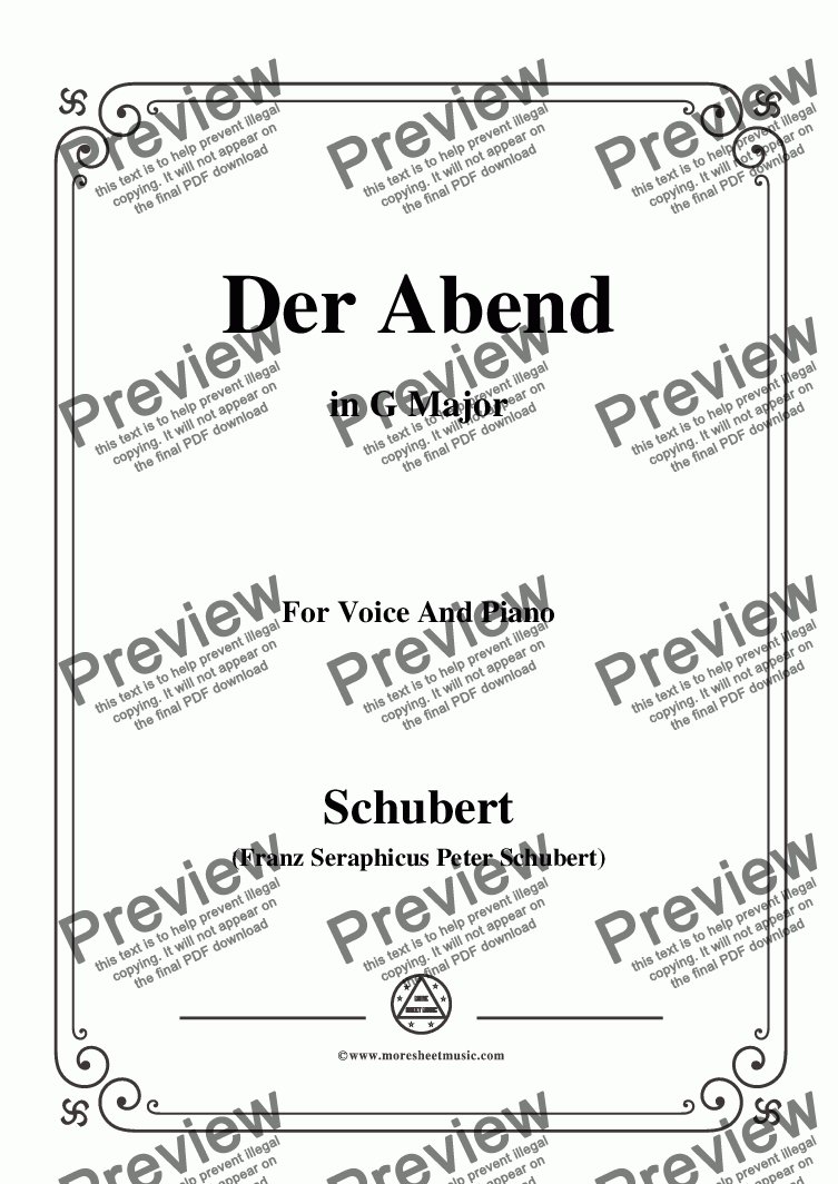 page one of Schubert-Der Abend,in G Major,Op.118,No.2,for Voice and Piano