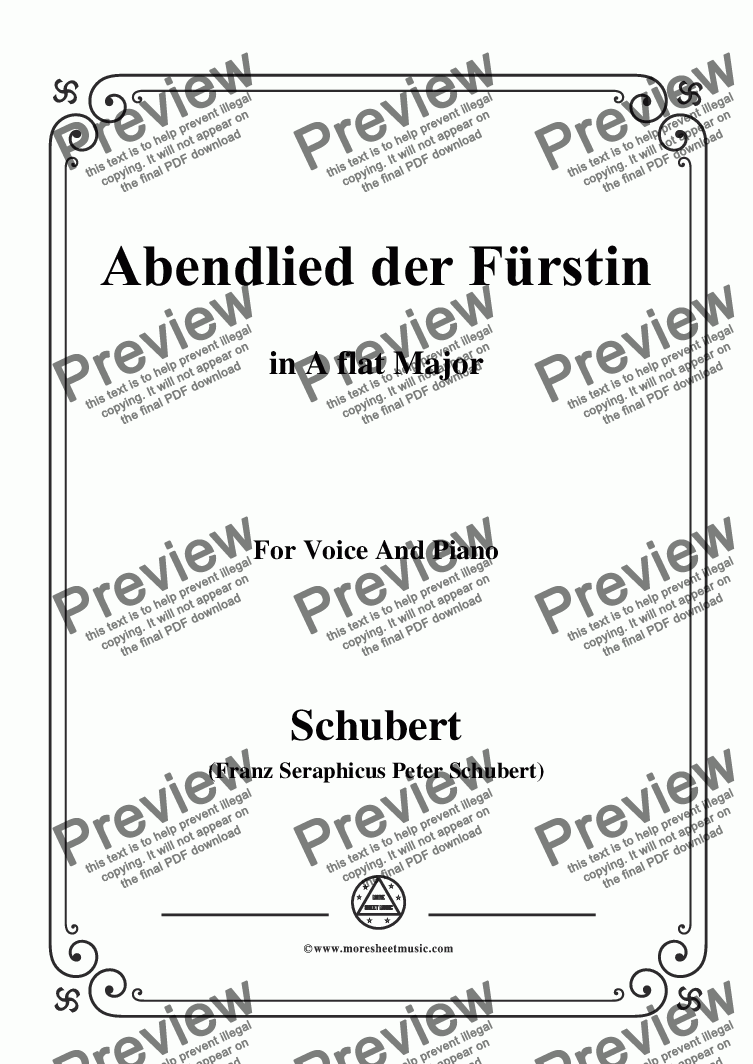 page one of Schubert-Abendlied der Fürstin,in A flat Major,for Voice and Piano