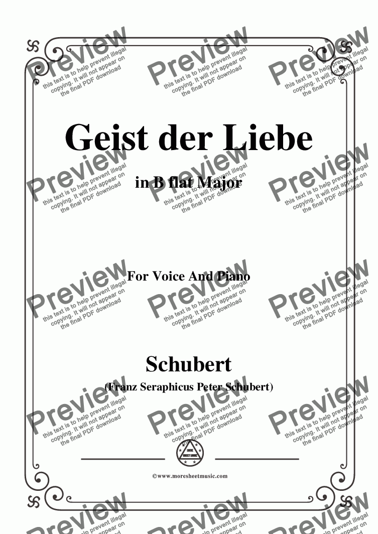 page one of Schubert-Geist der Liebe,in B flat Major,for Voice and Piano