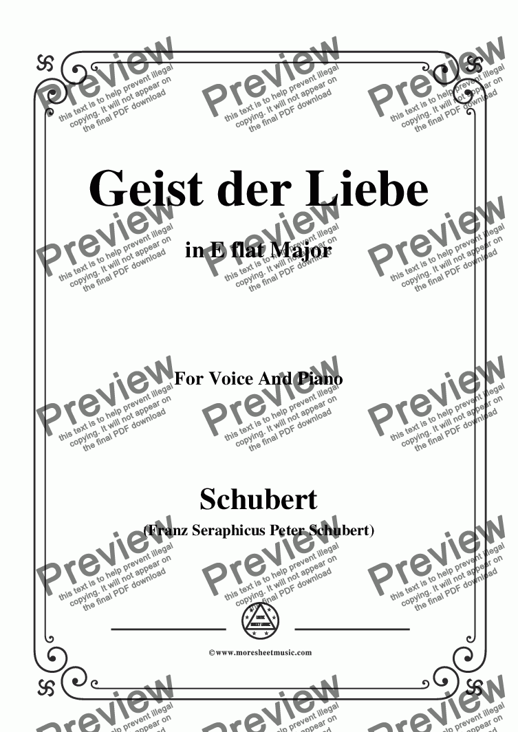 page one of Schubert-Geist der Liebe,in E flat Major,for Voice and Piano