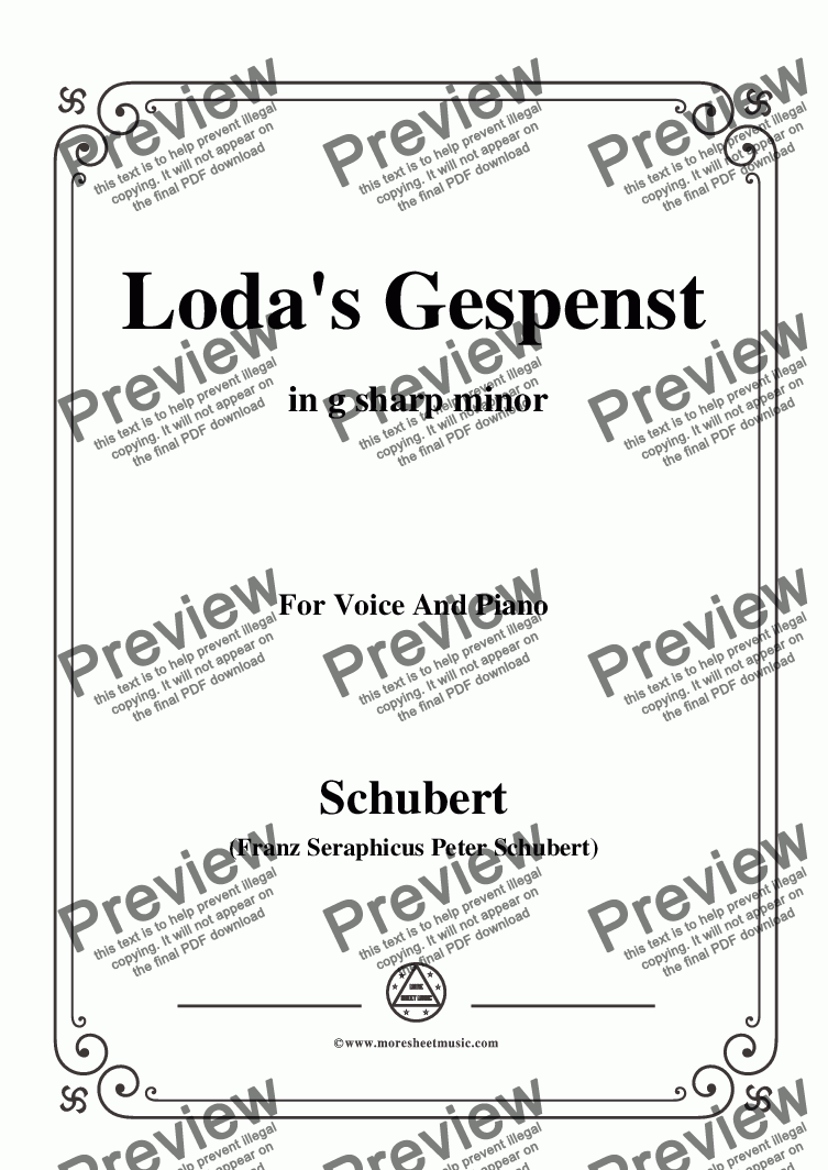 page one of Schubert-Loda's Gespenst,in g sharp minor,D.150,for Voice and Piano