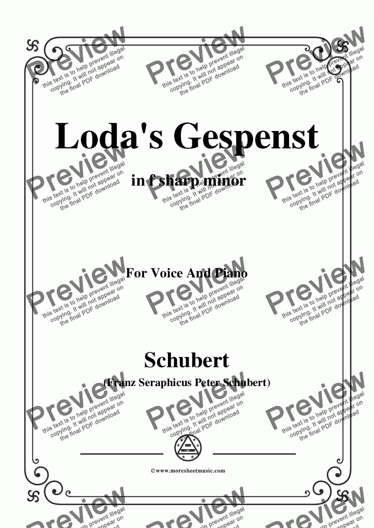 page one of Schubert-Loda's Gespenst,in f sharp minor,D.150,for Voice and Piano