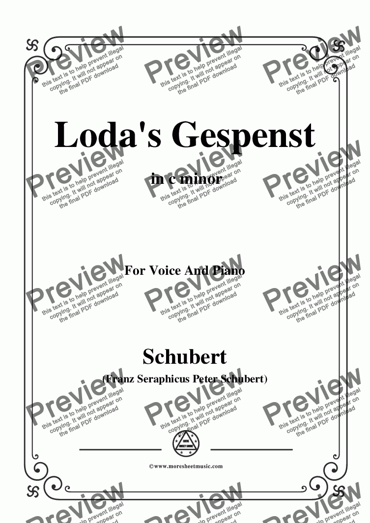 page one of Schubert-Loda's Gespenst,in c minor,D.150,for Voice and Piano
