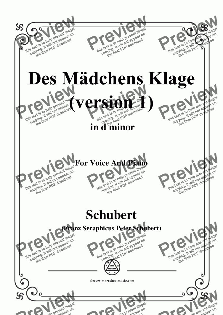 page one of Schubert-Des Mädchens Klage(Version I),in d minor,D.6,for Voice and Piano