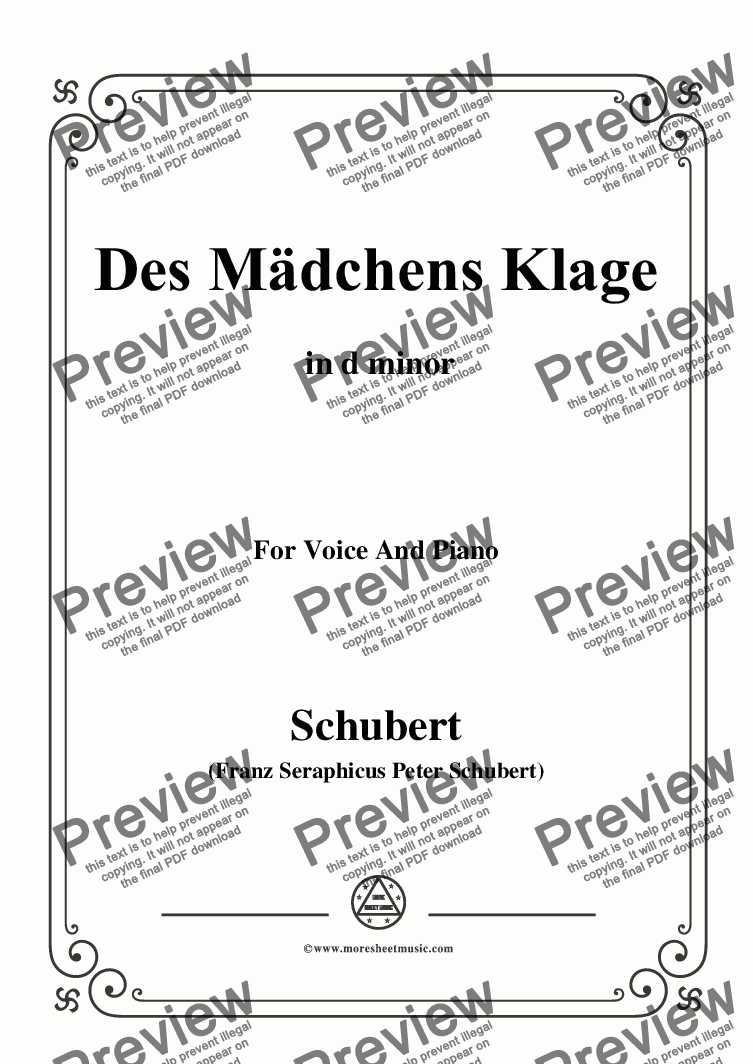 page one of Schubert-Des Mädchens Klage,in d minor,Op.8,No.3,for Voice and Piano