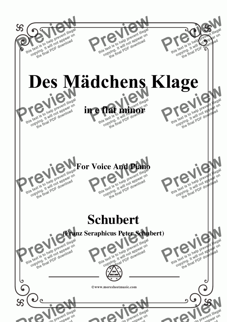 page one of Schubert-Des Mädchens Klage,in e flat minor,Op.8,No.3,for Voice and Piano