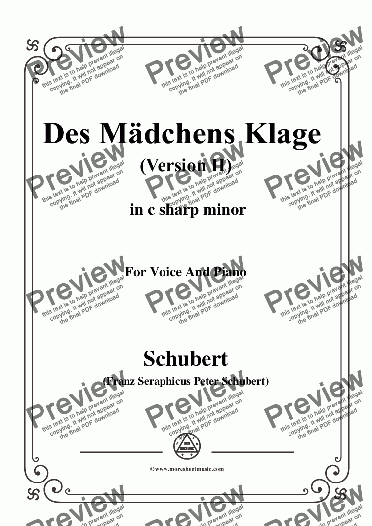 page one of Schubert-Des Mädchens Klage (Version II),in c sharp minor,D.191,for Voice and Piano