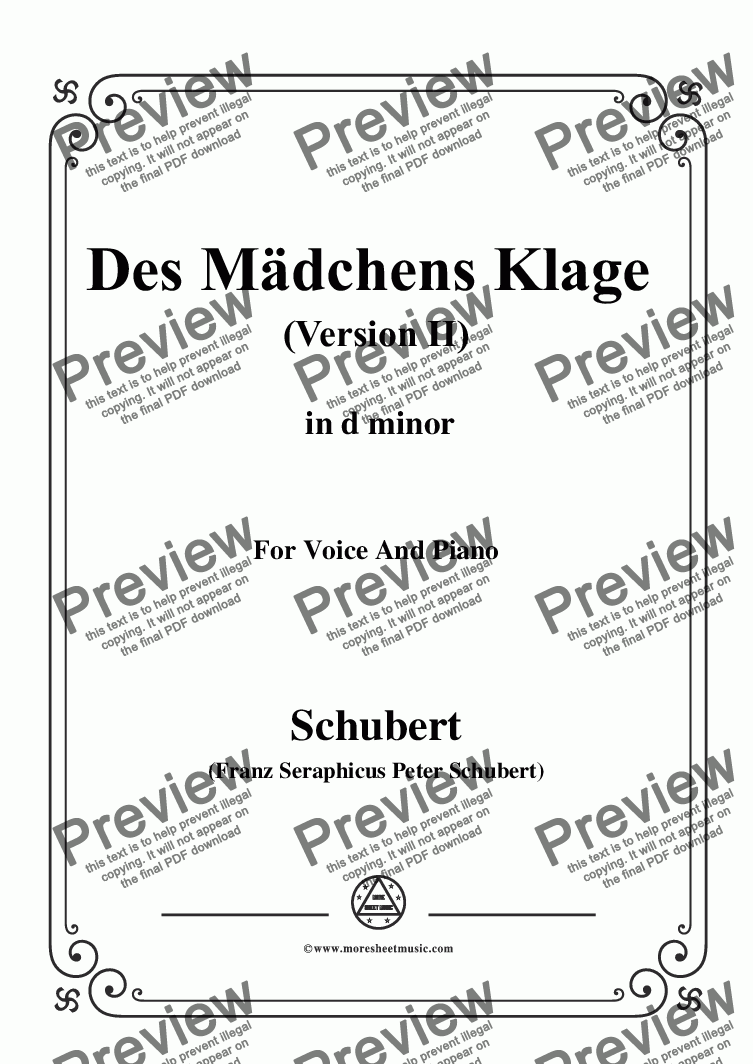 page one of Schubert-Des Mädchens Klage (Version II),in d minor,D.191,for Voice and Piano