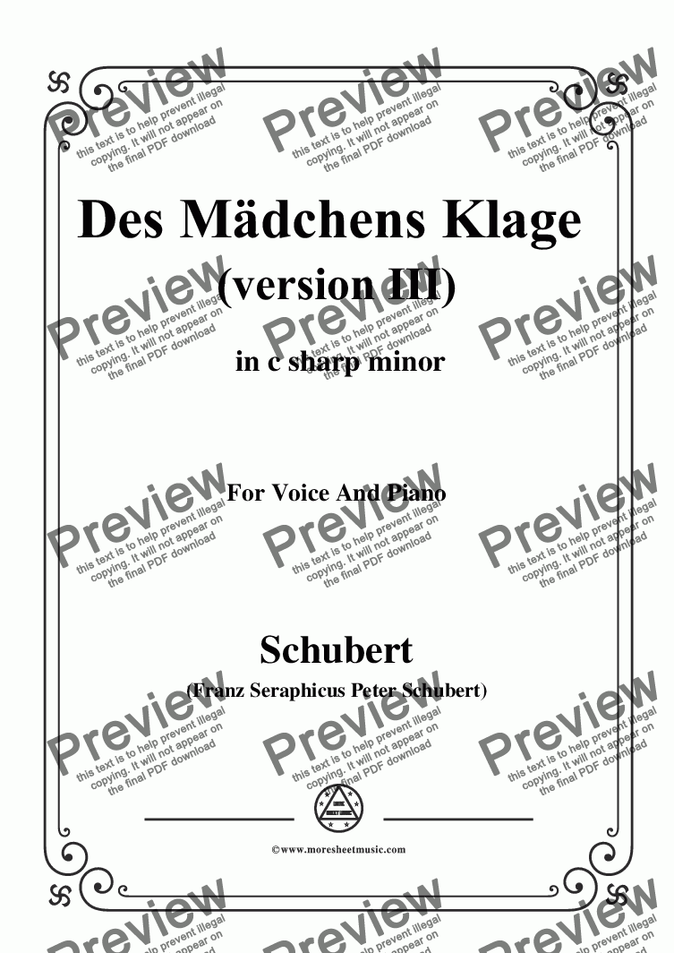 page one of Schubert-Des Mädchens Klage (Version III),in c sharp minor,D.389,for Voice and Piano