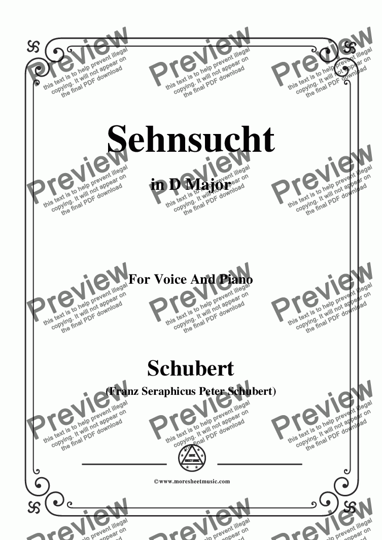 page one of Schubert-Sehnsucht,in D Major,Op.8,No.2,for Voice and Piano