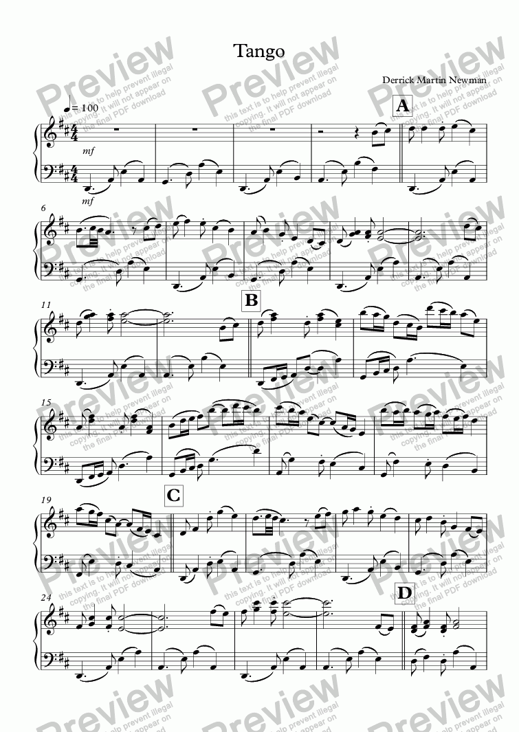 page one of Tango