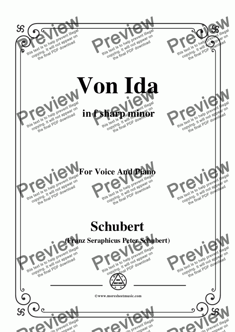 page one of Schubert-Von Ida,in f sharp minor,for Voice and Piano