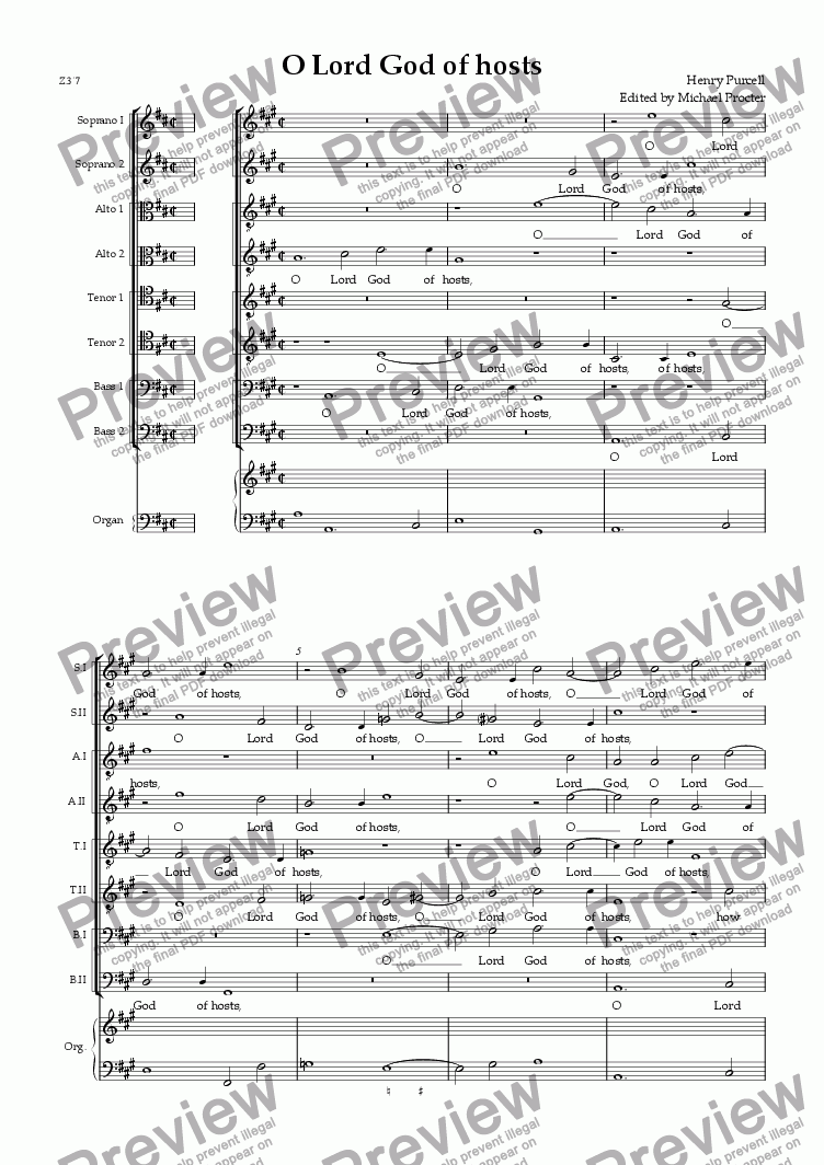 O Lord God of Hosts for Choir by Henry Purcell - Sheet Music PDF file to  download