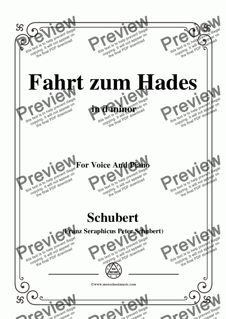 page one of Schubert-Fahrt zum Hades,in d minor,D.526,for Voice and Piano
