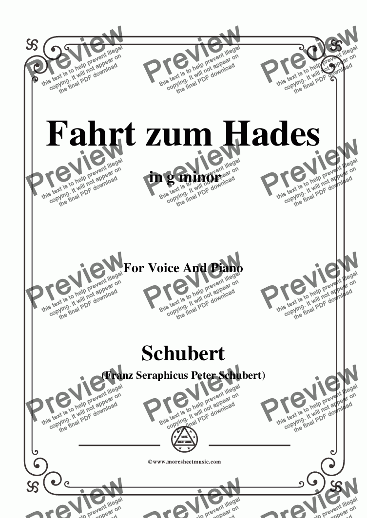 page one of Schubert-Fahrt zum Hades,in g minor,D.526,for Voice and Piano
