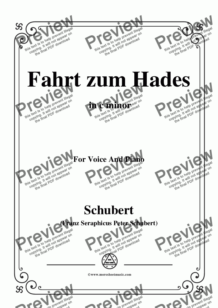page one of Schubert-Fahrt zum Hades,in c minor,D.526,for Voice and Piano