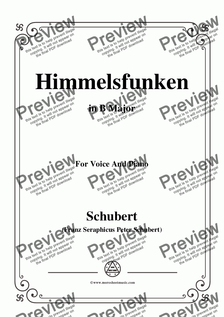 page one of Schubert-Himmelsfunken,in B Major,for Voice and Piano