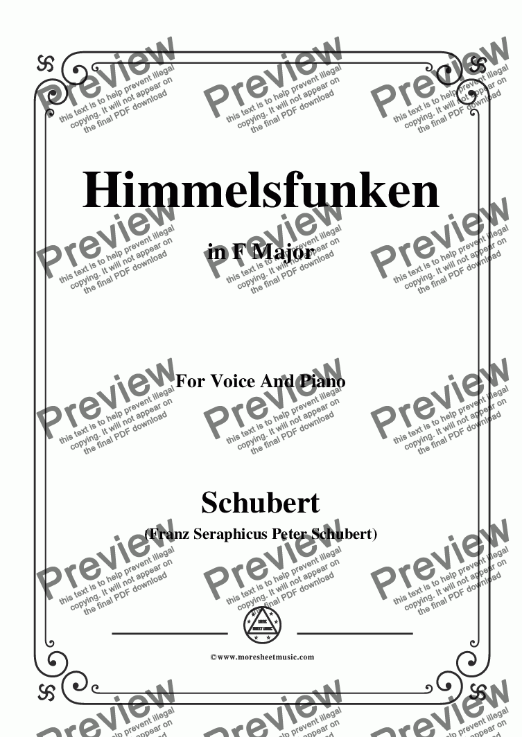 page one of Schubert-Himmelsfunken,in F Major,for Voice and Piano