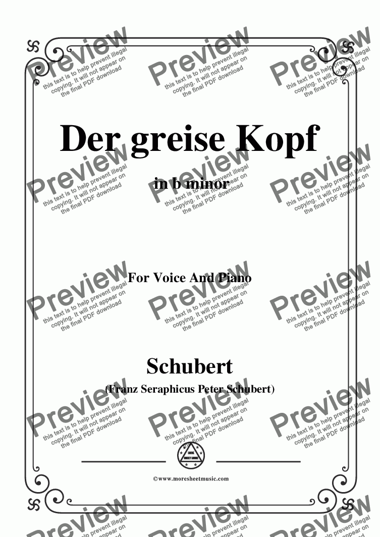 page one of Schubert-Der greise Kopf,in b minor,Op.89,No.14,for Voice and Piano
