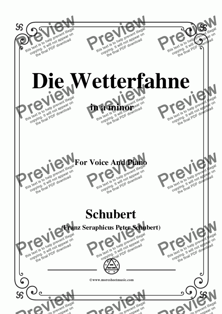 page one of Schubert-Die Wetterfahne,in a minor,Op.89,No.2,for Voice and Piano