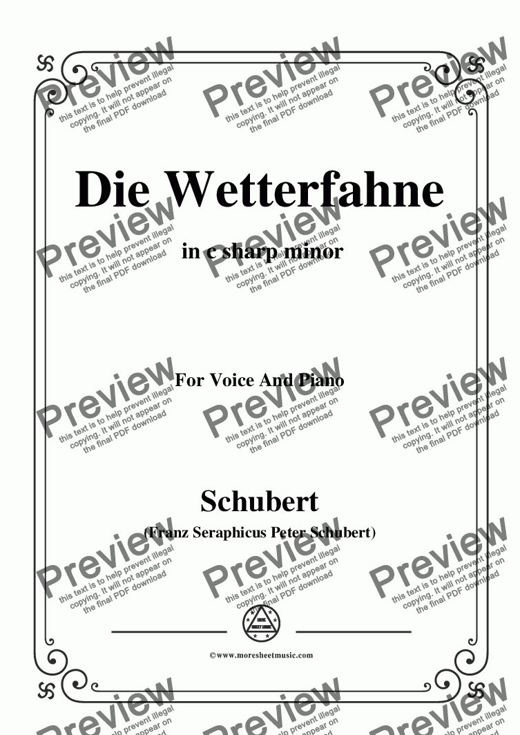 page one of Schubert-Die Wetterfahne,in c sharp minor,Op.89,No.2,for Voice and Piano