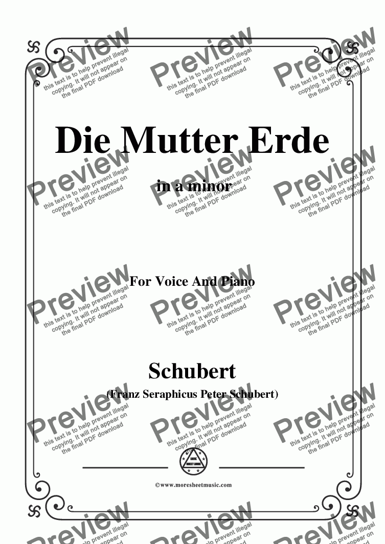 page one of Schubert-Die Mutter Erde,in a minor,for Voice and Piano