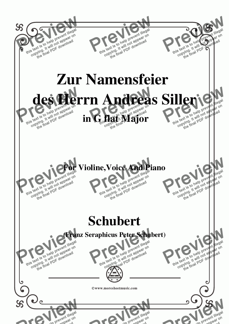 page one of Schubert-Zur Namensfeier des Herrn Andreas Siller,in G flat Major,for Violine Voice and Piano